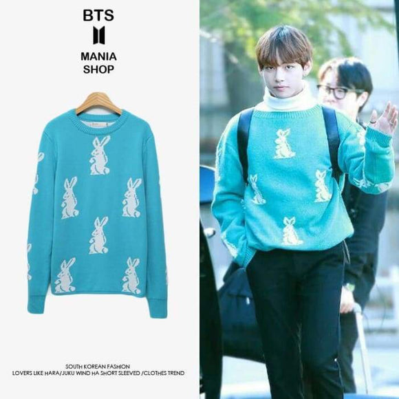 Bts V Cute Rabbit Blue Sweater - S - Bangtan Fashion