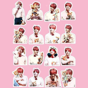 Bts V With Cute Fox Stickers - Stickers