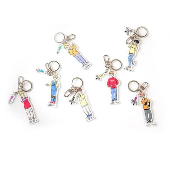BTS World Member Cartoon Keyring - Set Of 7 (Save 20%) - Accessories