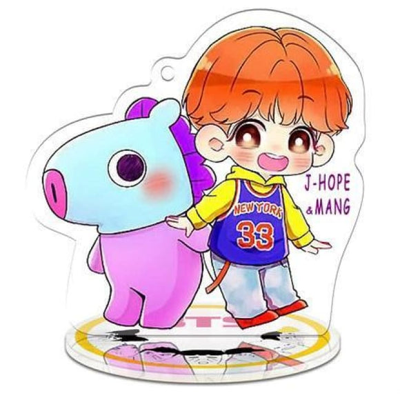 Bts X Bt21 Signature Standing Plaque (J-Hope) - J-Hope 1 / Add Three Colors Led Lightning Base - Accessories