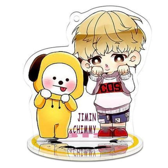 Bts X Bt21 Signature Standing Plaque (Jimin) - Jimin 1 / Add Three Colors Led Lightning Base - Accessories