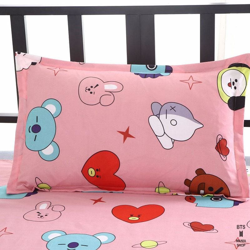 BTS BT21 Design Pink Bed Cover + 2 Pillowcases