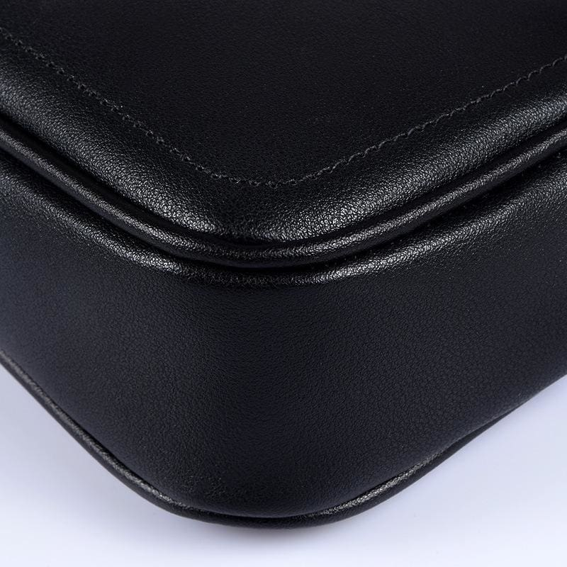 a close up of a black bag