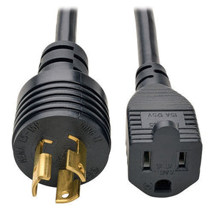 Extension Cord, 5-15R to L5-15P, 6 Feet, Black, SJTW, 14/3, 105C Rated