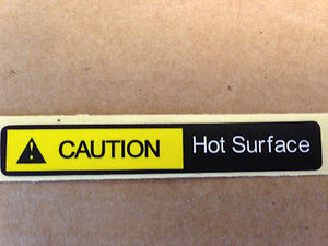 Label, Caution Hot Surface, Yellow/Black, IWH 1-6