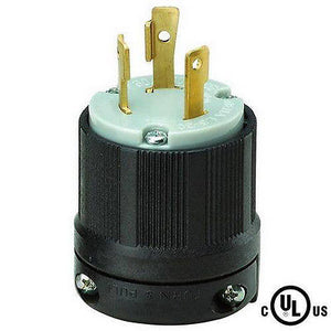 L6-30 Grounding Male Plug with External Cord Grip