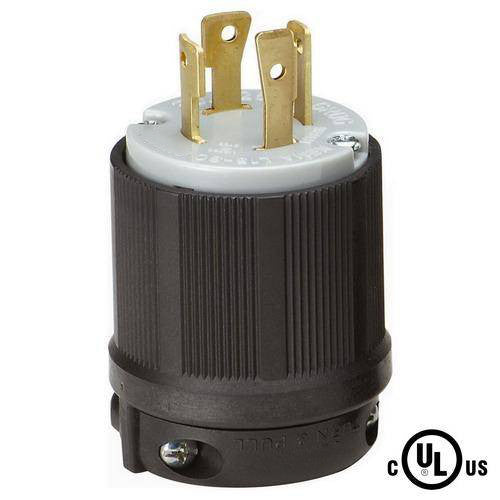 NEMA L15-30P Locking Plug, Rated for 30 Amp, 250 VAC, cUL Listed