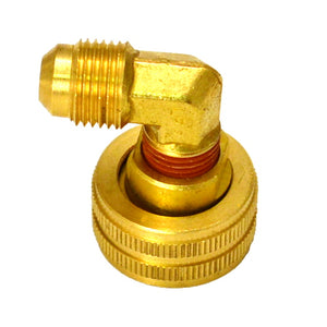 "3/4"" Garden Hose Swivel to 3/8"" Flare Elbow, Lead Free Brass"