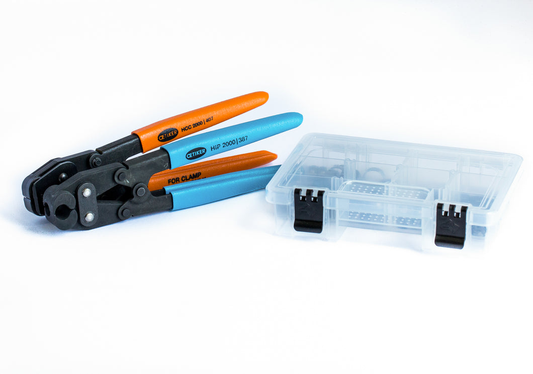 50 Clamps - I.D. Range of 7 mm to 15.7 mm (with Compound Action Pincer & Clamp Cutter)