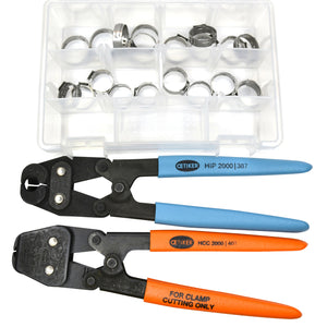 20 Clamps - I.D. Range of 17 mm to 21 mm (with Compound Side Jaw Pincer & Clamp Cutter)