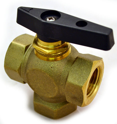 Brass Ball Valve, 3 Way, Female NPT 3/8