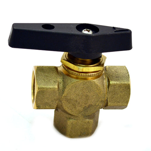 Brass Ball Valve, 3 Way, Female NPT 1/2