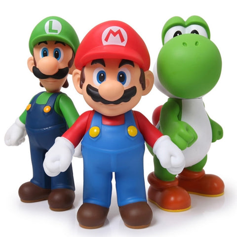 Super Mario 3pcs/set Bros Mario Yoshi Luigi PVC Action Figure Collectible  Model Toy - WeRToyz