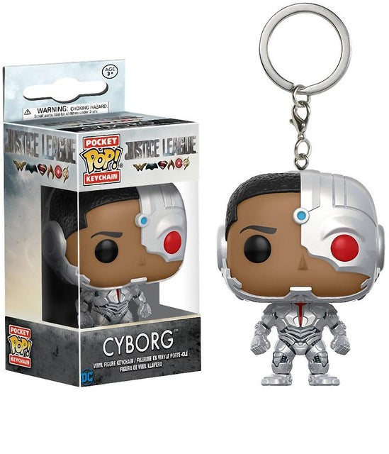 Official Funko Pop Keychain Justice League - Cyborg Action Figure Key Chain |  Vinyl Figure | WeRToyz