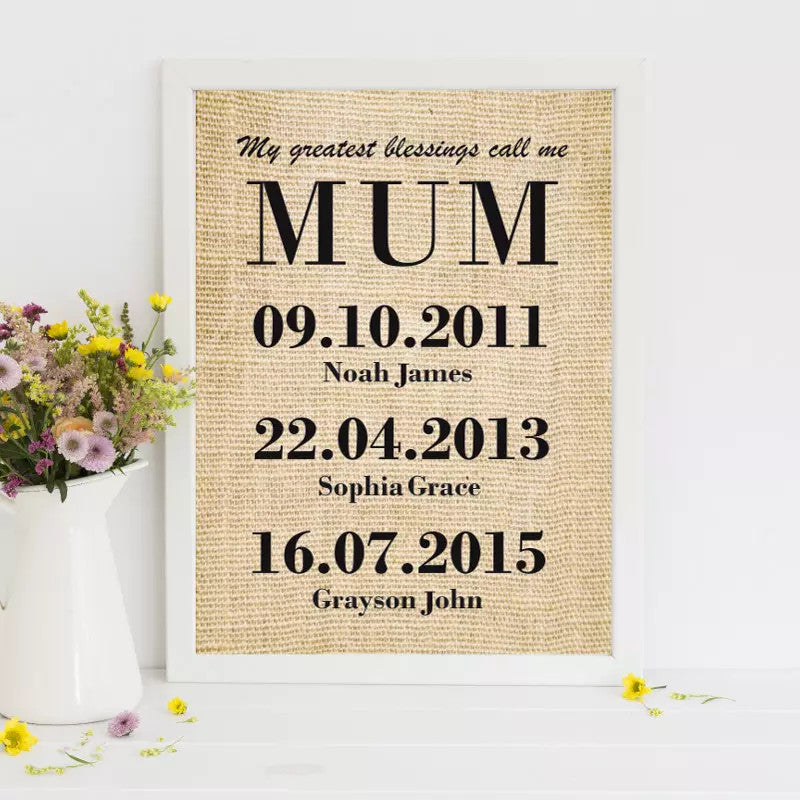 PERSONALISED MOTHER'S DAY BURLAP WALL ART PRINT