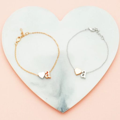 PERSONALISED HEART INITIAL BRACELET IN ROSE GOLD AND SILVER