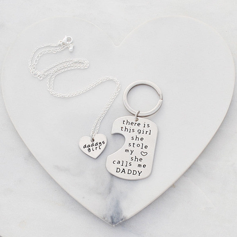 Buen amore - Daddy's girl necklace and key ring gift set