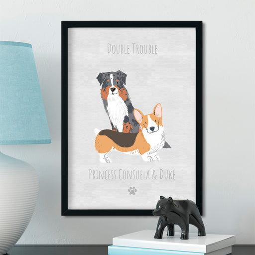 Personalised Dog Double Trouble Illustration Portrait Art Print