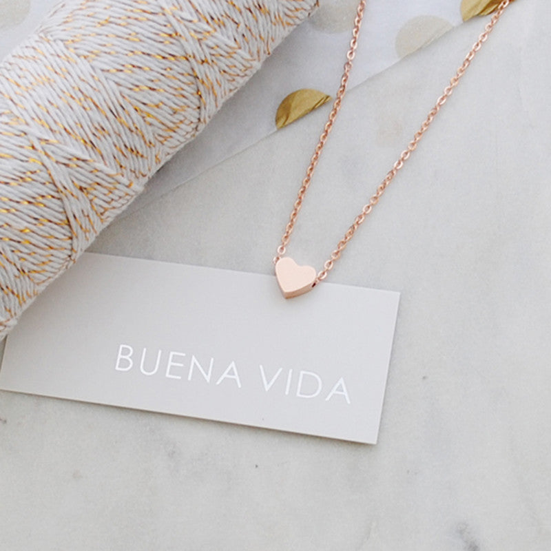 Buen amor - Rose gold heart necklace