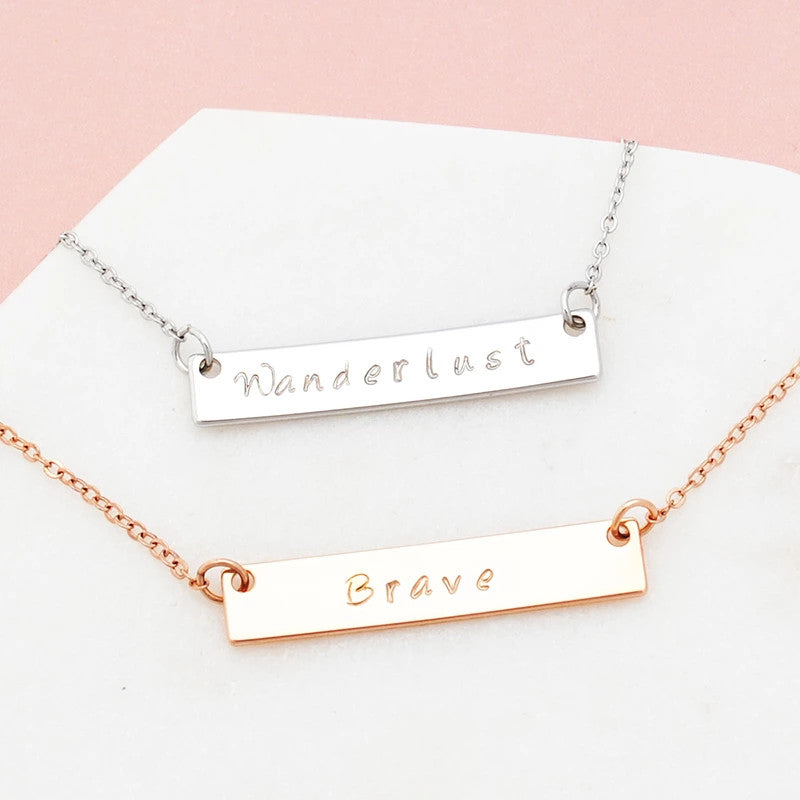 Personalised hand stamped PURPOSE Myintent necklace - Free Shipping