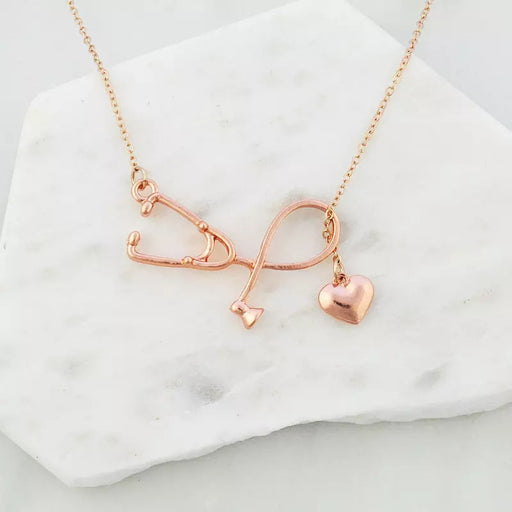 NURSE STETHOSCOPE NECKLACE IN ROSE GOLD