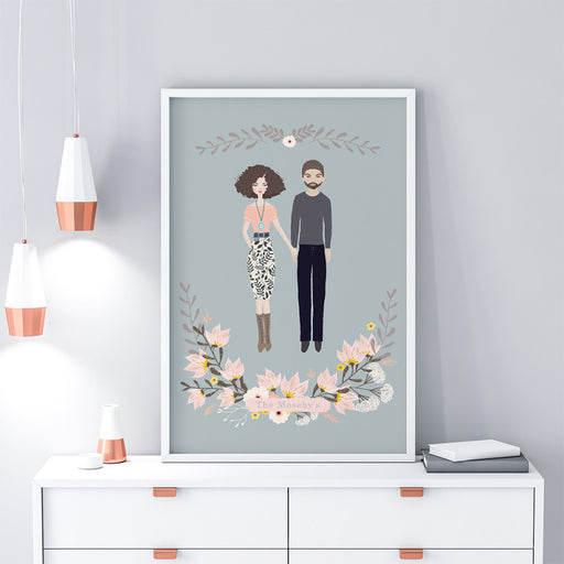 Personalised cutest couple illustration Portrait Anniversary Art Print