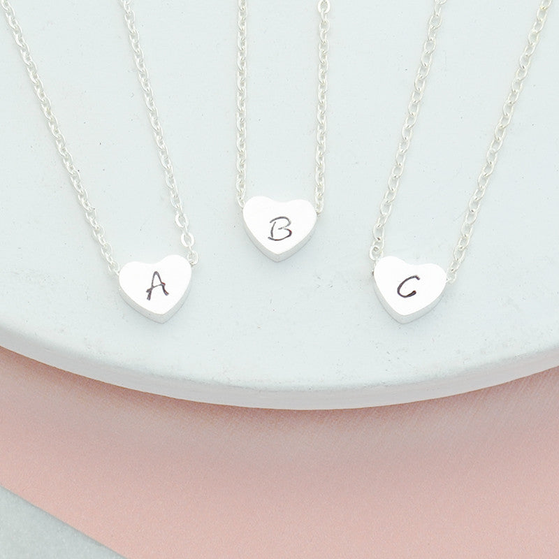Personalised hand stamped heart uppercase initial necklace in silver - Free Shipping