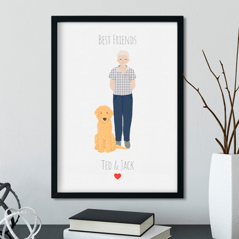Best Friends Personalised Dog illustration Portrait Art Print