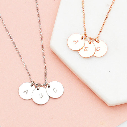 Personalised hand stamped initial discs necklace in rose gold or silver - Free Shipping