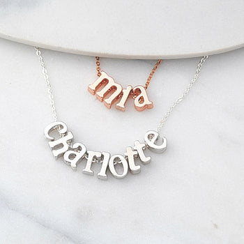 Personalised Dainty Name Necklace in silver or rose gold
