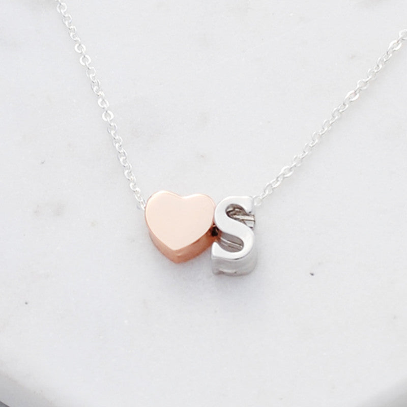 Buen Amor PERSONALISED HEART INITIAL NECKLACE - Free Shipping