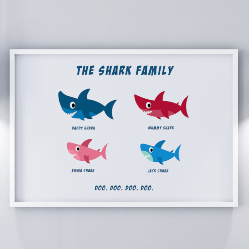 Personalised Shark Family Wall Art Print
