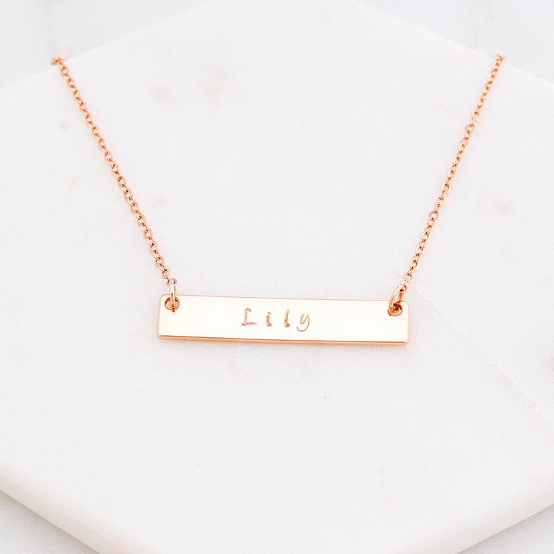 Personalised hand stamped name bar necklace