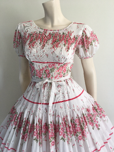 Romantic 50s 60s Pink Floral Border Print Party Dress