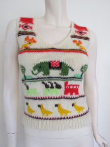 Novelty 70's Hand Knitted Wool Vest