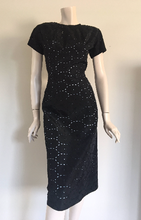 50s Black Wiggle Dress with Illusion Blue Lining