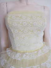 STUNNING Lemon and White Vintage 50s Lace and Tulle Prom Dress