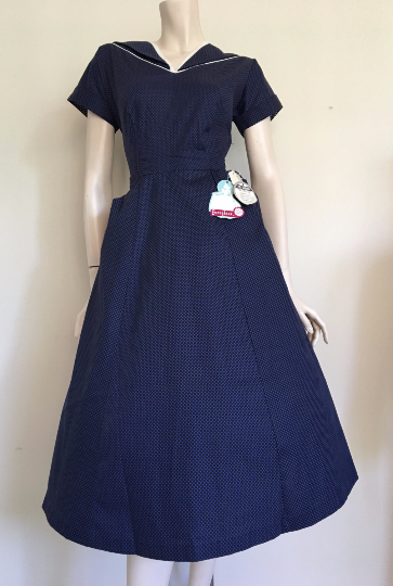 RARE NOS Stunning 50s Blue Spotty Day Dress