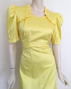 Gorgeous 70s Sunshine Yellow Frilled Maxi Dress