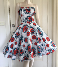 Cute 50s 60s Strapless Cotton Party Dress