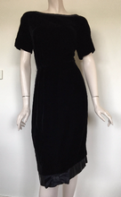 Vintage 50s Black Velvet and Satin Wiggle Dress