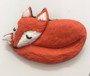 Hip to be Hare Sleeping Fox Brooch