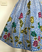 Lovely 50s Border Print Rose and Polka Dot Skirt