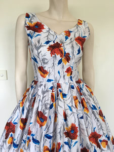 Stunning Orignal 50s Floral Cotton Party Dress