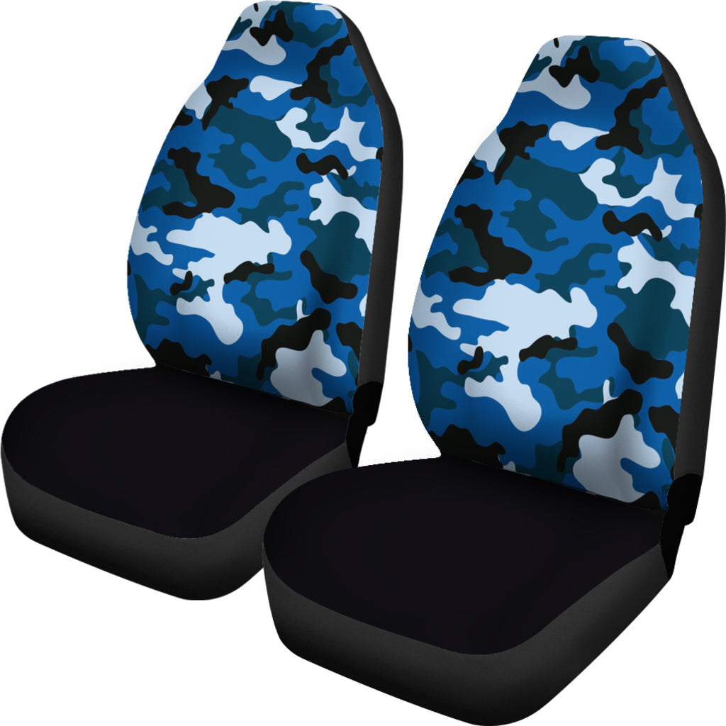 Blue Camouflage Car Seat Covers Set Of 2