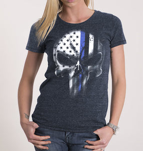 1346ed038 Women's Punisher T-shirt - Thin Blue Line - USA comes First