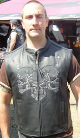 Skull leather club vest - Motorcycle - HighwayLeather