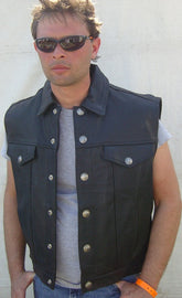 Denim Style Leather Vest - Motorcycle Levi style - highwayleather