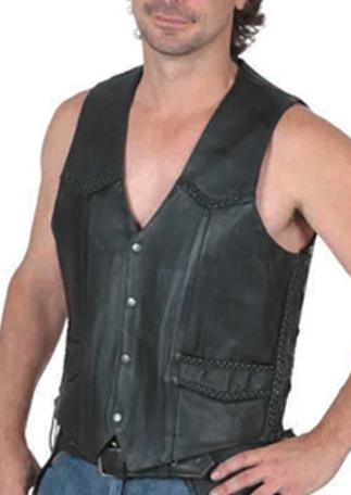 Braid leather motorcycle vest - Side lace - highwayleather