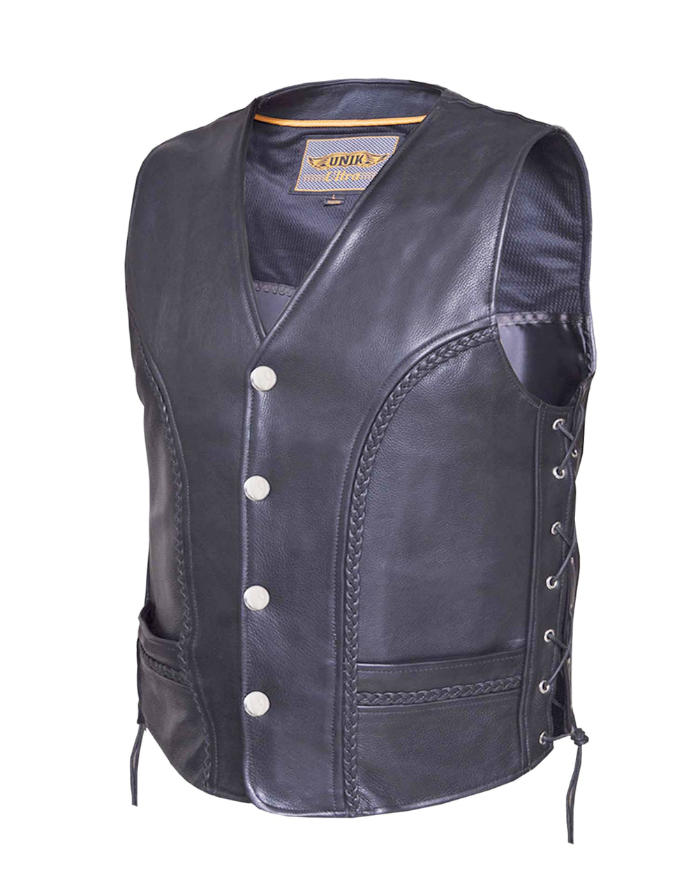 Men's Braided Side Lace Vest w/ Buffalo Snaps - HighwayLeather